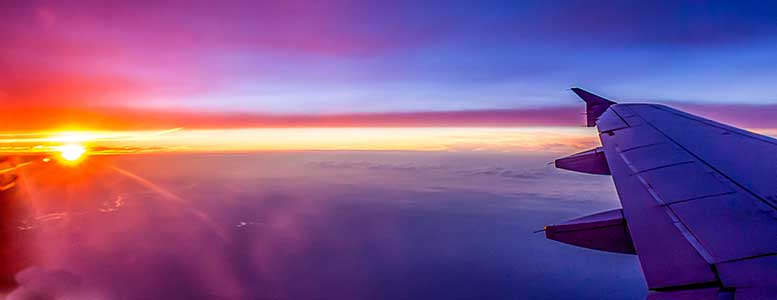 Sunset Clouds, Flying, Flight, Jet, Commercial Jet