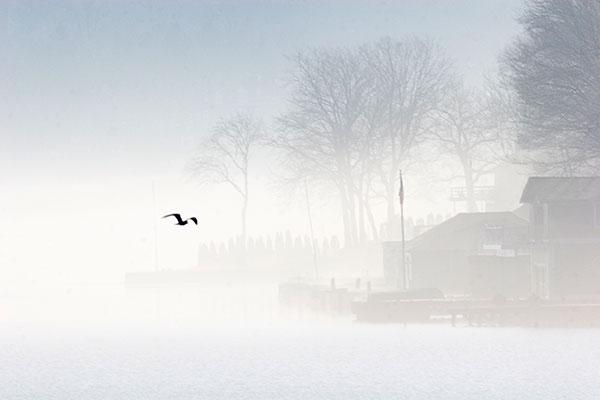 mystery lake, fog