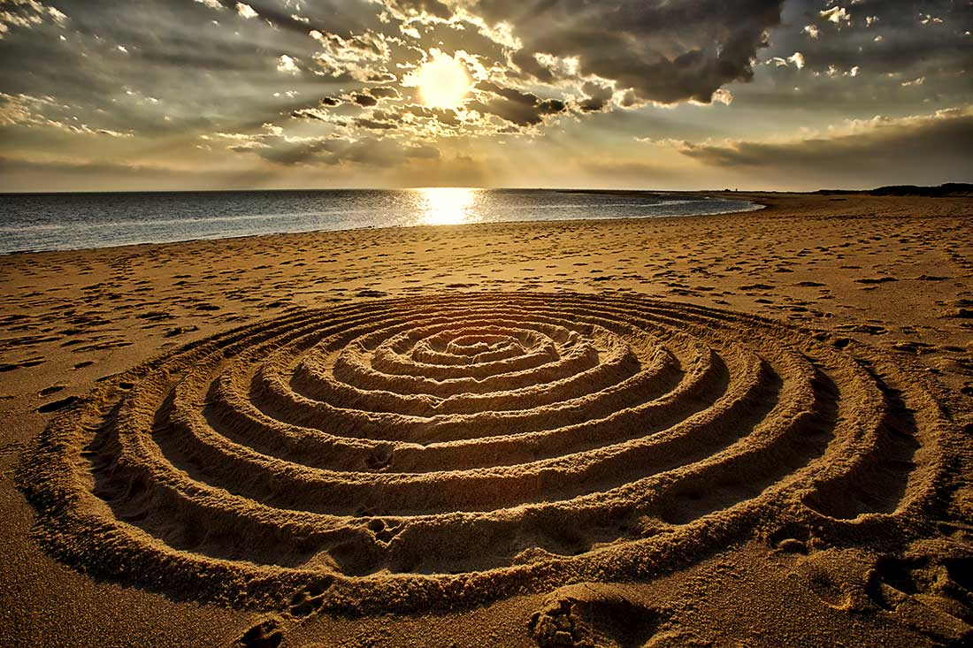 Sunset over sand art, Herring Cover Beach, Provincetown, Cape Cod.