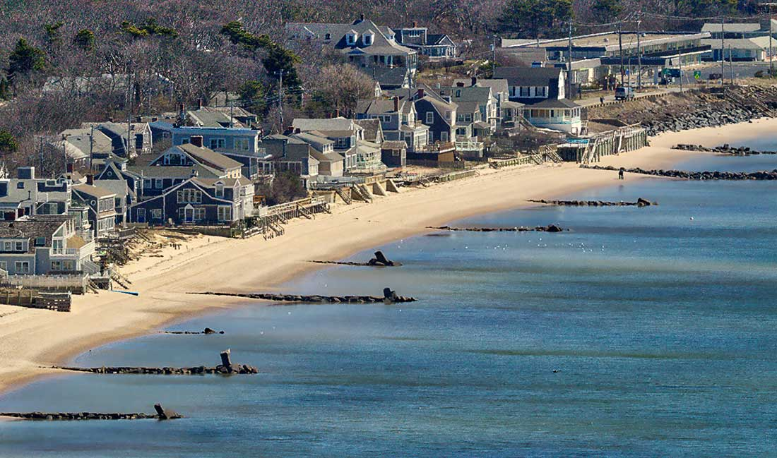 Cape Cod Bay and homes.
