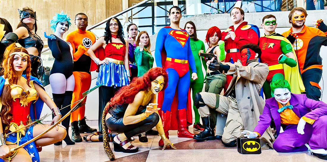 Superheroes at the Comic Con Superheroes Convention