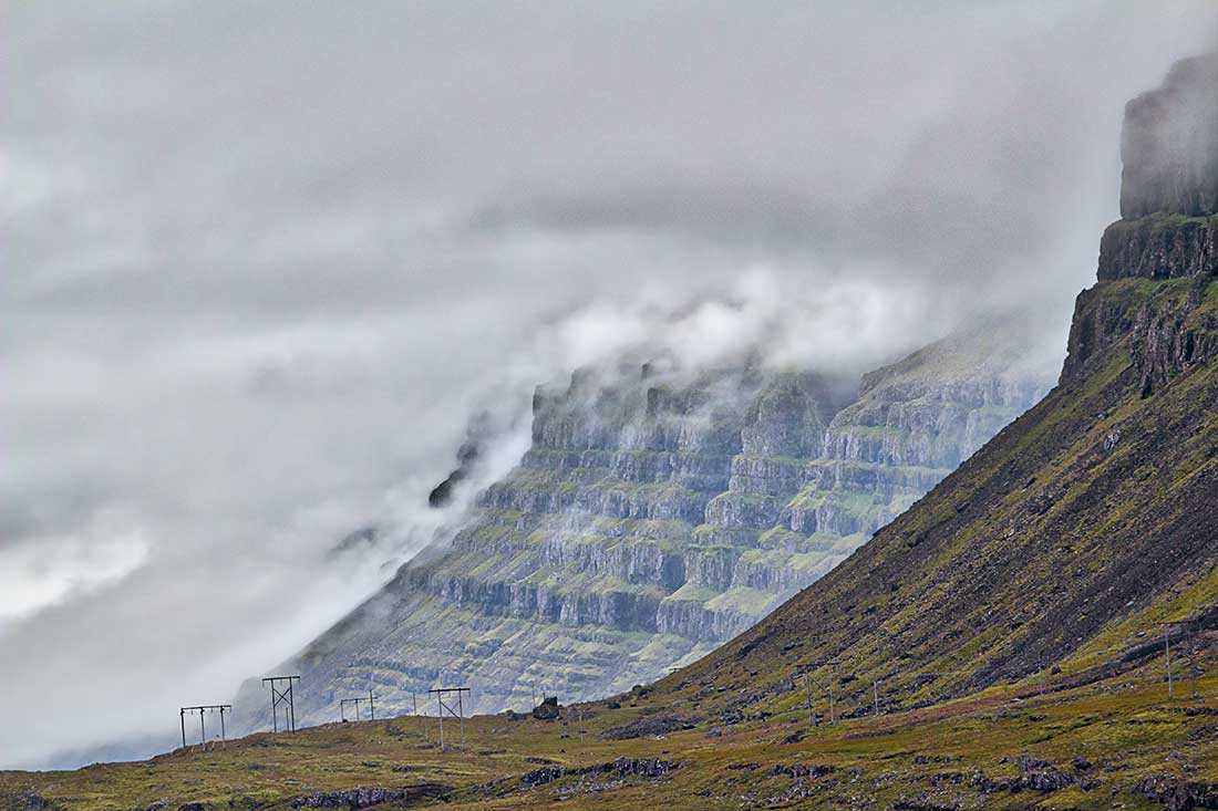 Mountains and Fog, Iceland.
