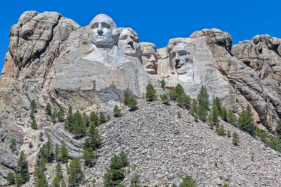 A view of Mount Rushmore, South Dakota.