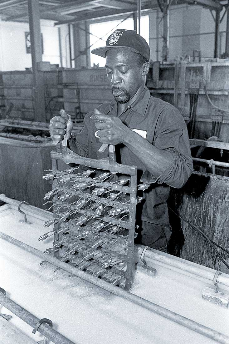 Man working in a factory.
