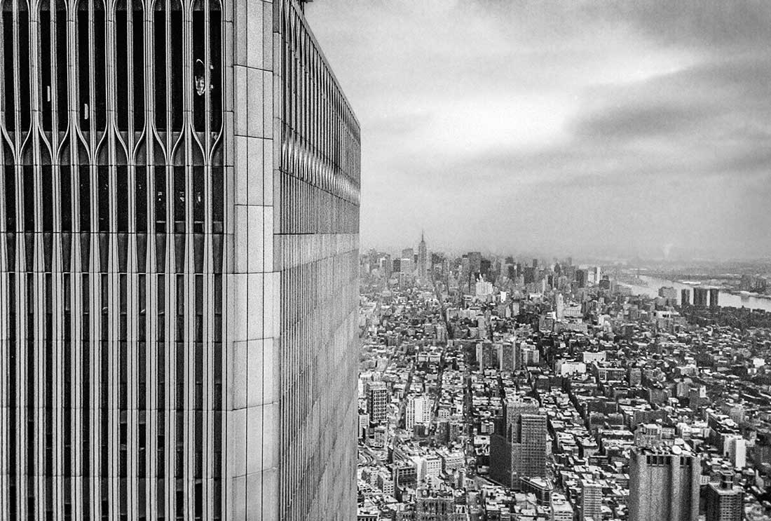 View from atop of World Trade Center of New York City and Empire State Building.