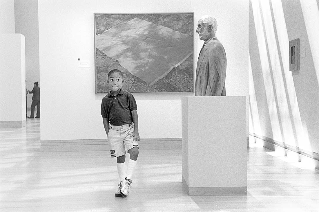 Young African American boy in museum