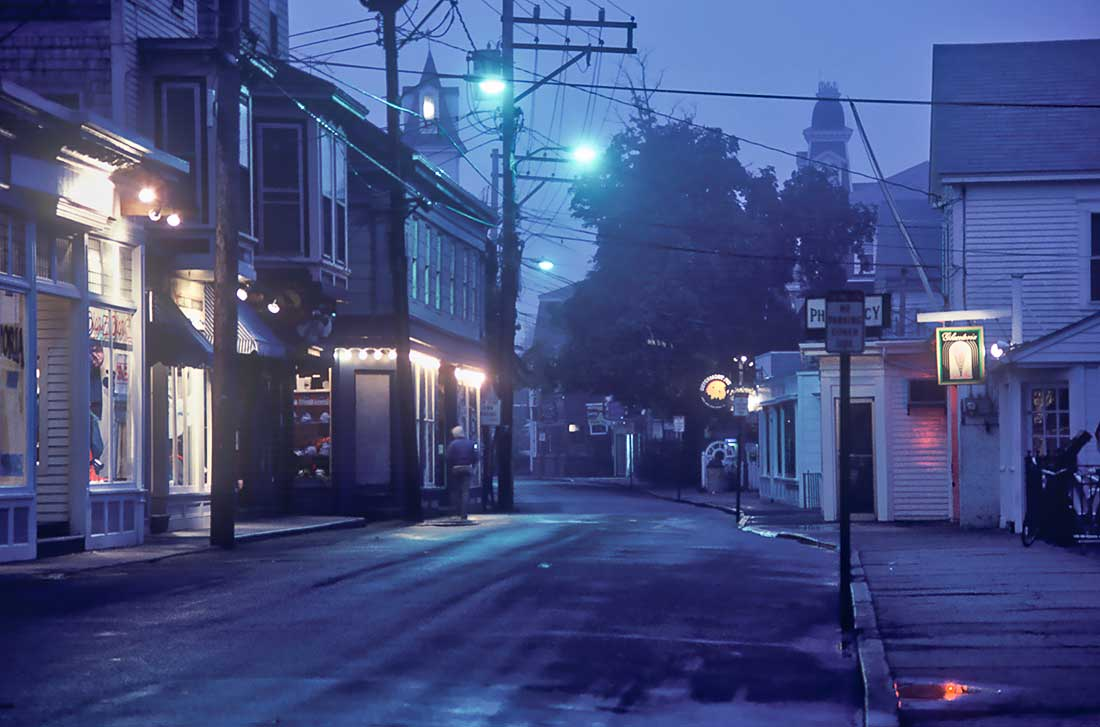 Twilight on Commercial Street, Provincetown, Cape Cod.