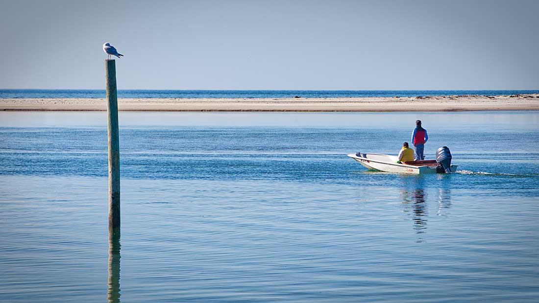 Two people in boat in Cape Cod Bay.