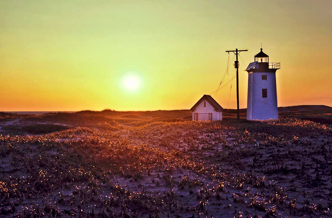 Sunset and lighthouse, Wood End, Provincetown, Cape Cod