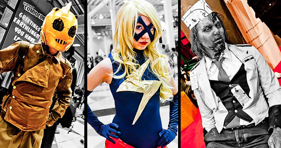 Comic book characters at the Comic Con Convention