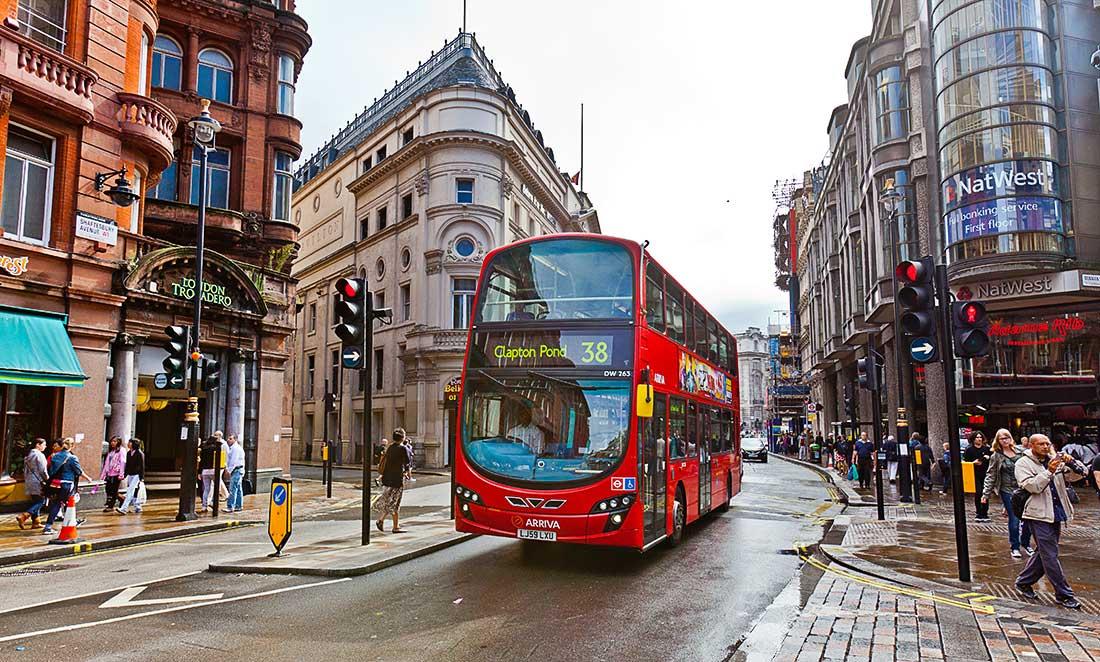 Bus transportation in London.