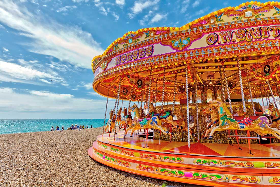 A Merry-Go-Around on the ocean beach in Brighton, England.