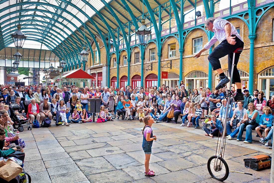 Performer in Covent Garden in London.