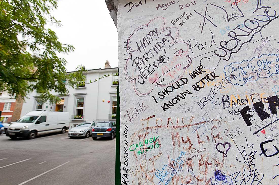 EMI Studios, London with Beatle graffiti written outside the entrance.