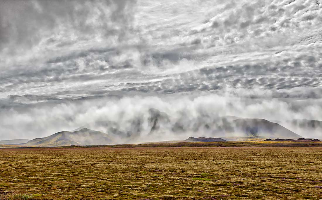 Fog covered mountains in Iceland.