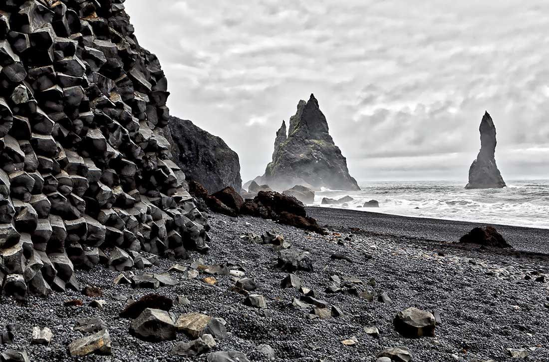The Black Sand Beach at Reynisfjara, Iceland.