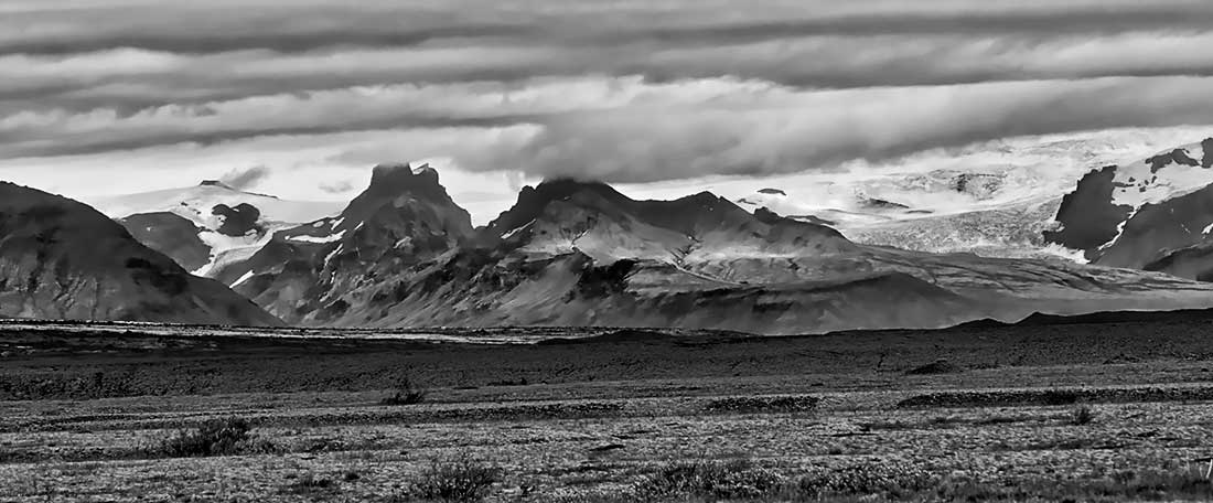 Glaciers, Mountains and Clouds in Iceland.