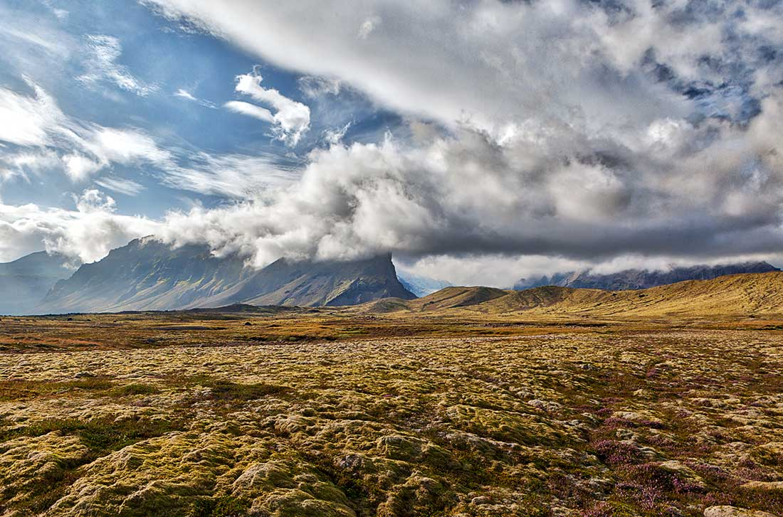 Mountains and clouds, Iceland.