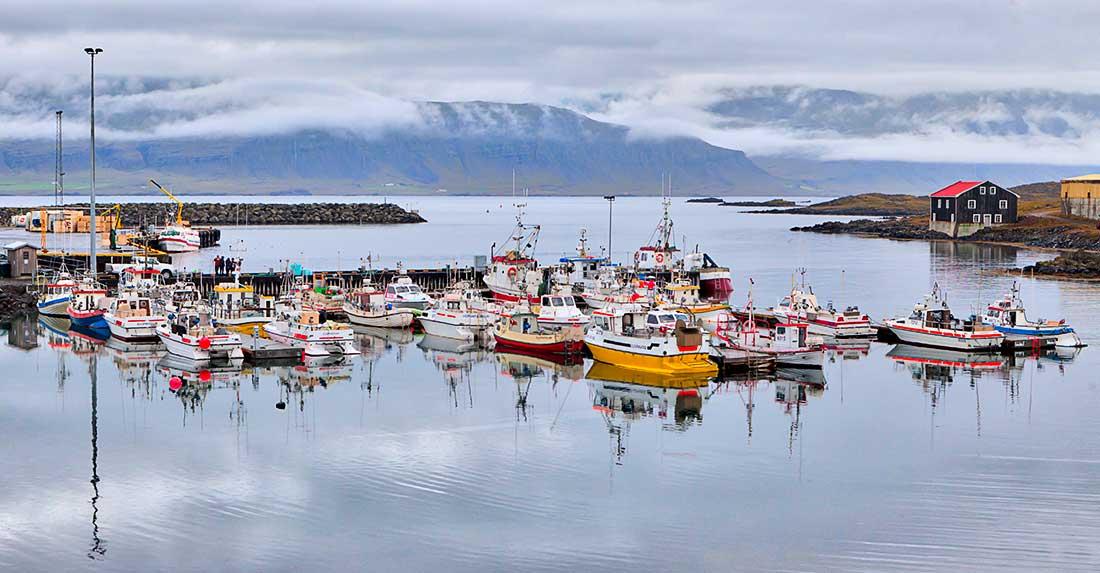 Boats in water, Djúpivogur, Iceland.