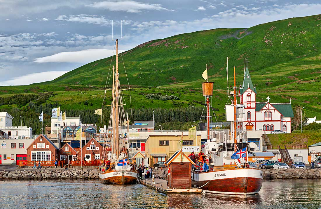 Fishing and tourist boats in Husavik, Iceland.