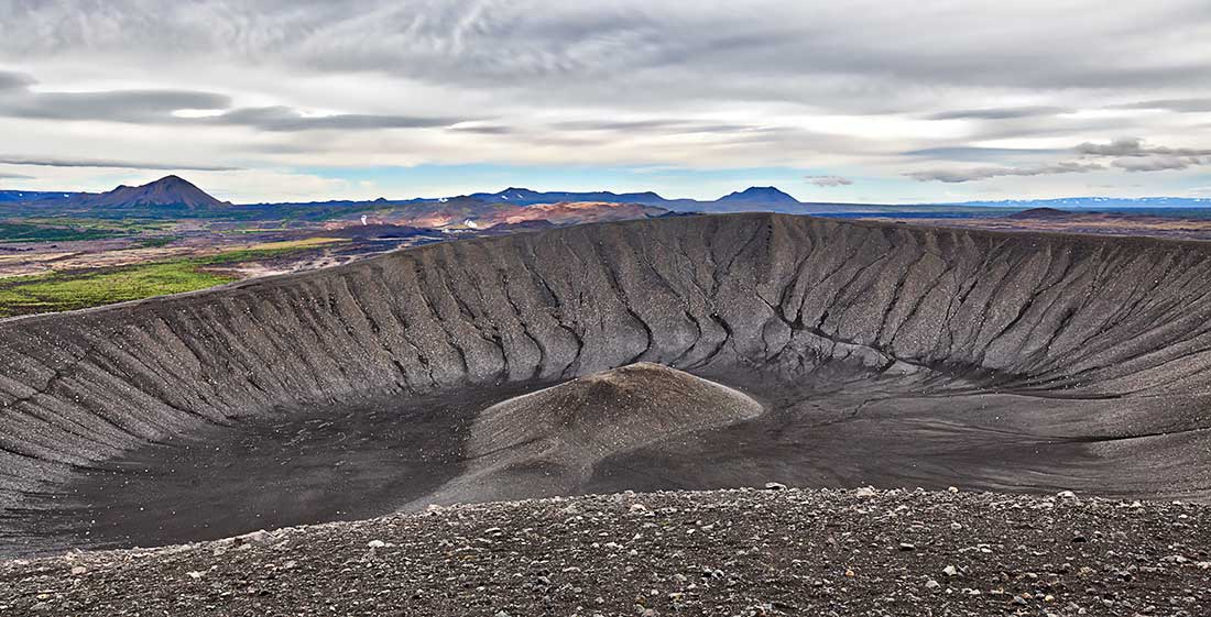 Ancient volcano at Hverfjall, Iceland.