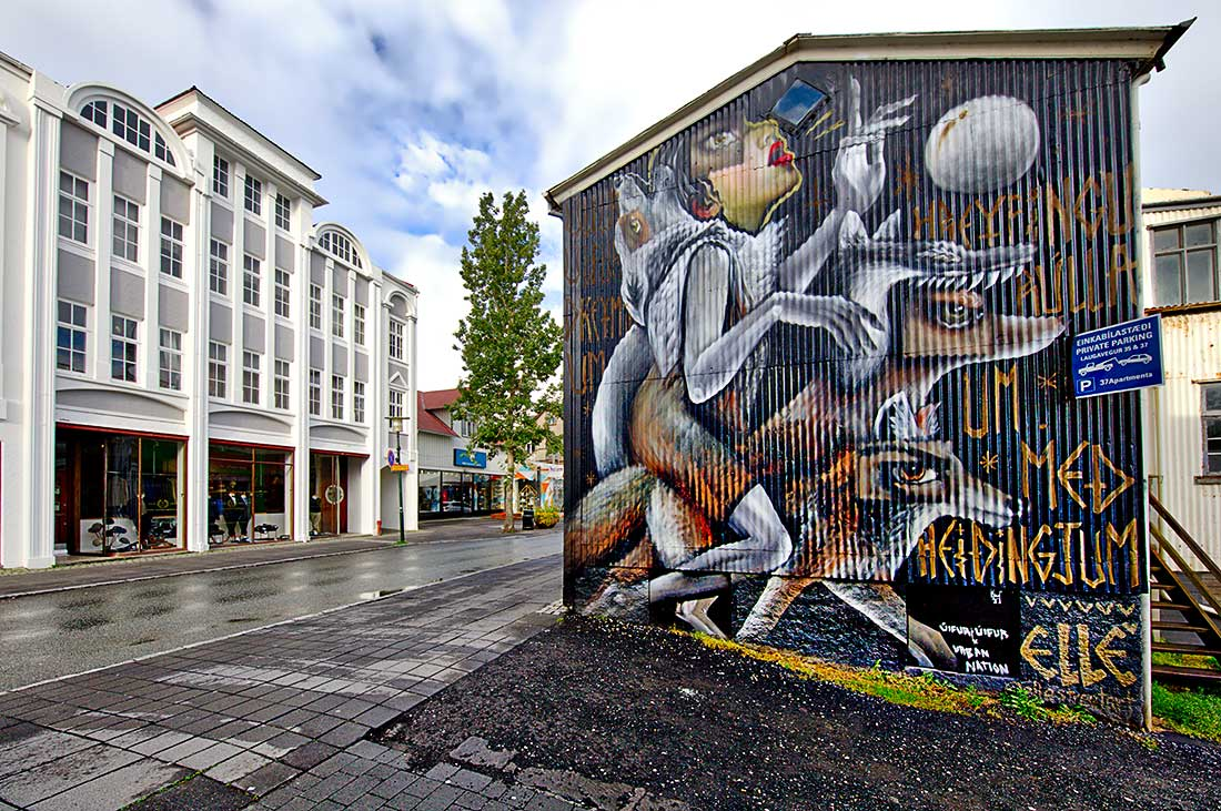 Graffiti artwork on building in Reykjavik, Iceland.