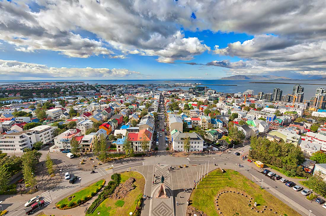 An aerial view of Reykjavik, Iceland from the top of the Hallgrimskirkja Lutheran Church.