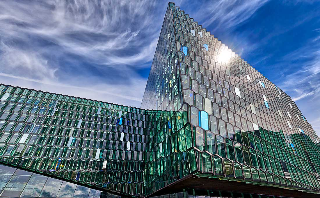 The Harpa Concert Hall and Conference Center in Reykjavik, Iceland.