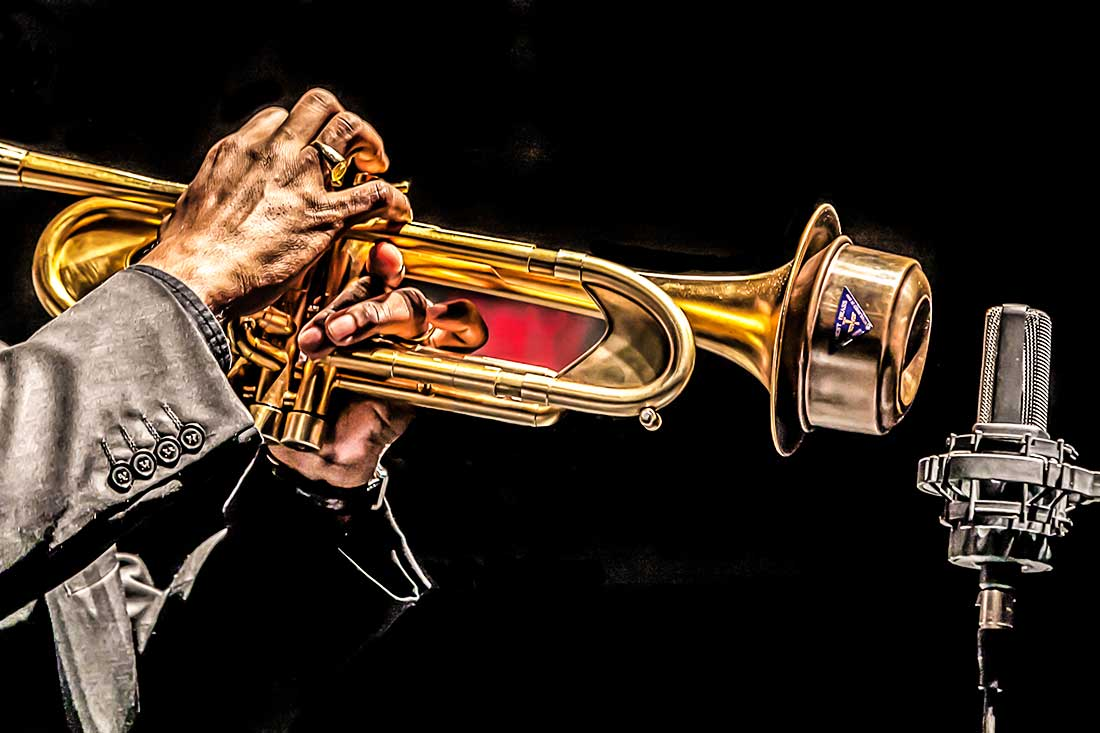 Musician playing the trumpet.