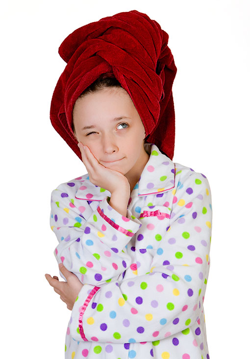 Young Girl Wearing Towel on Head