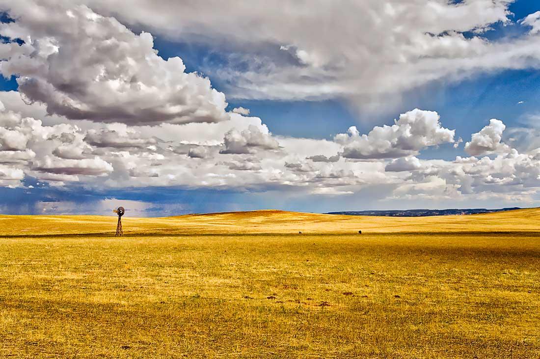 Windmill in an open field in Utah.