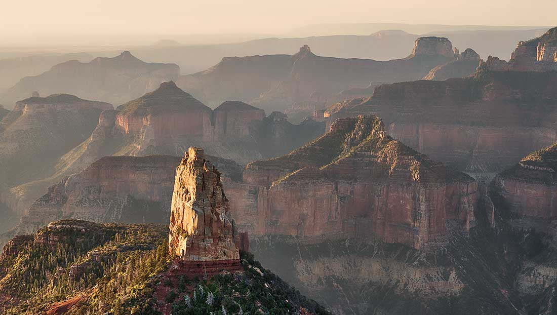 Sunrise on the North Rim of the Grand Canyon.