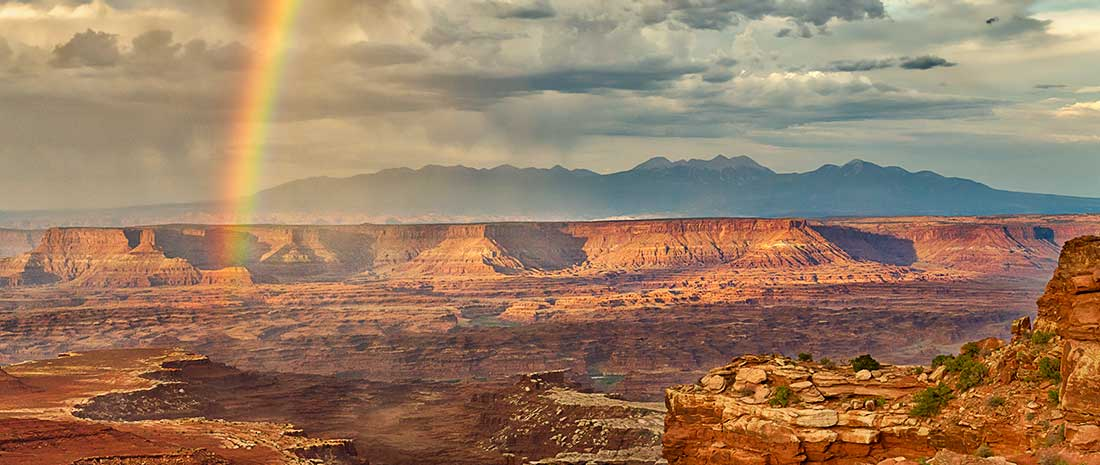 Rainbow in Grand View Point Overlook in Canyonlands National Park