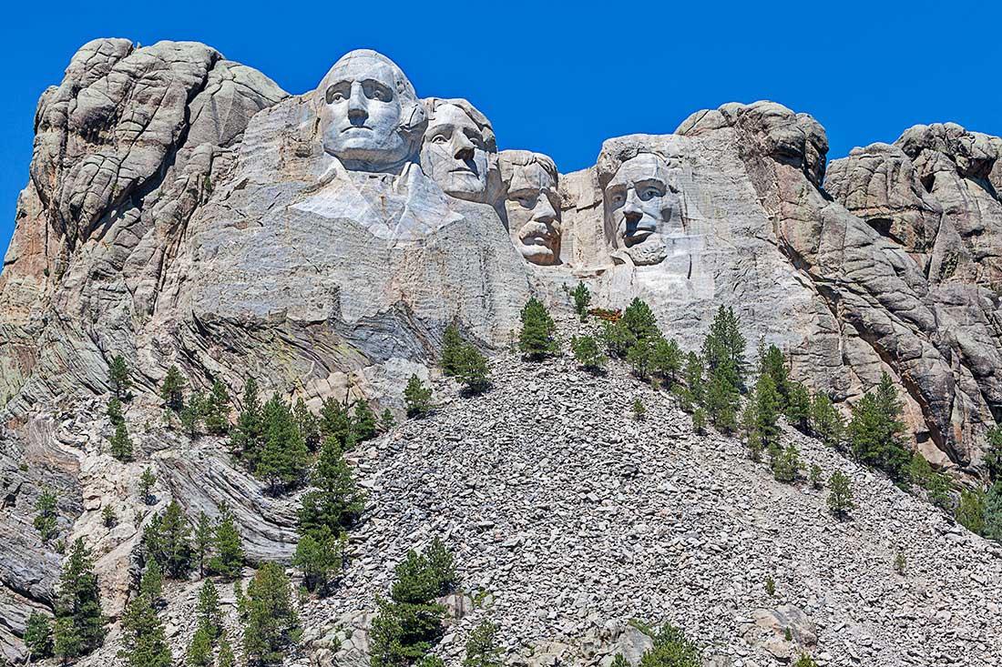 A view of Mount Rushmore, South Dakota.